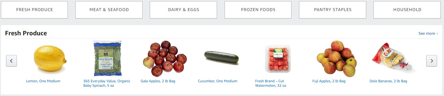 amazon fresh selection