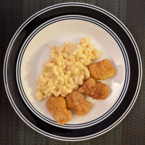 Mac N Cheese and Chicken Nuggets