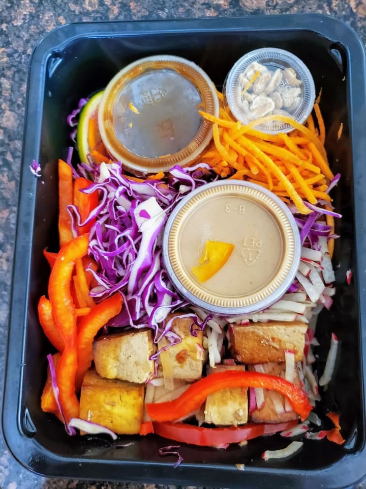 Sprinly General Tsao's Tofu with Peanut Red Cabbage Slaw