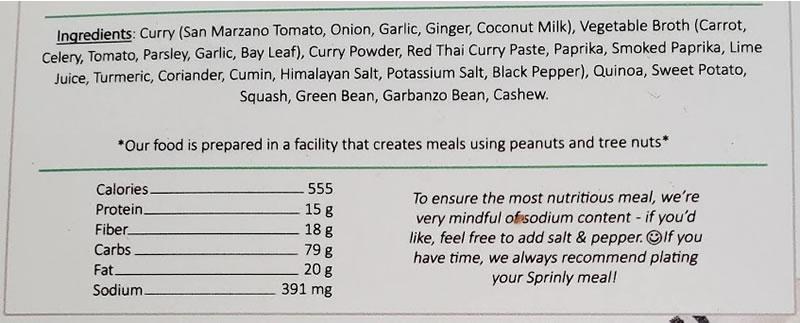 Sprinly ingredients