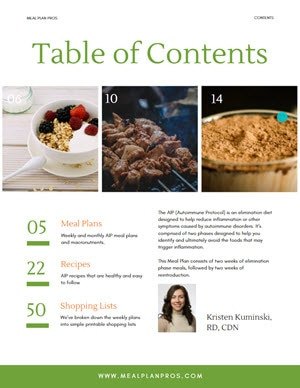 AIP Diet Table of Contents