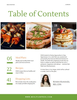 Dash Diet Table of Contents
