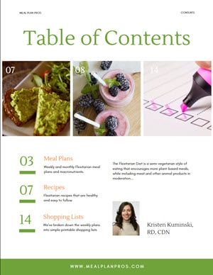 Flexitarian Table of Contents