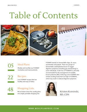 Low Fodmap Table of Contents
