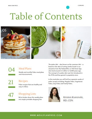 Paleo Diet Table of Contents