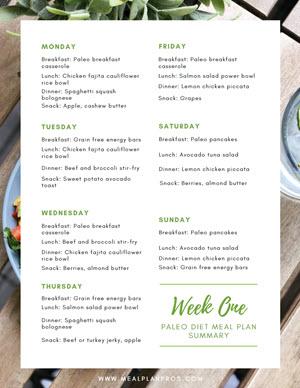 Paleo Diet Week Summary