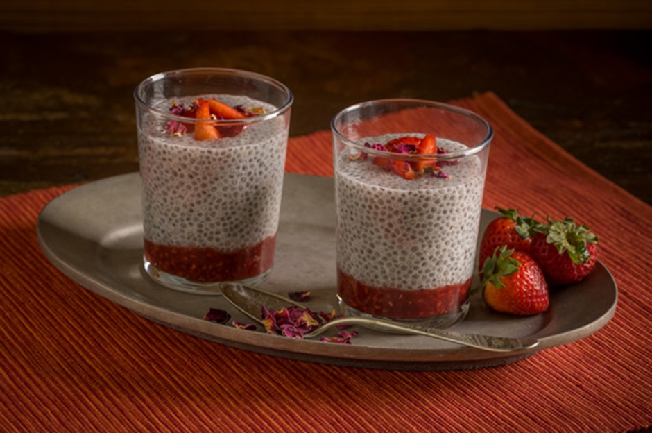 Strawberry-Rose Chia Seed Pudding